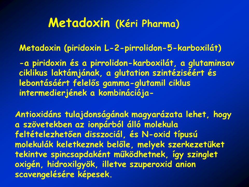 Metadoxin (piridoxin L-2-pirrolidon-5-karboxilát) -a piridoxin és a pirrolidon-karboxilát, a glutaminsav ciklikus laktámjának, a glutation szintéziséért és lebontásáért felelős gamma-glutamil ciklus intermedierjének a kombinációja- Antioxidáns tulajdonságának magyarázata lehet, hogy a szövetekben az ionpárból álló molekula feltételezhetően disszociál, és N-oxid típusú molekulák keletkeznek belőle, melyek szerkezetüket tekintve spincsapdaként működhetnek, így szinglet oxigén, hidroxilgyök, illetve szuperoxid anion scavengelésére képesek.