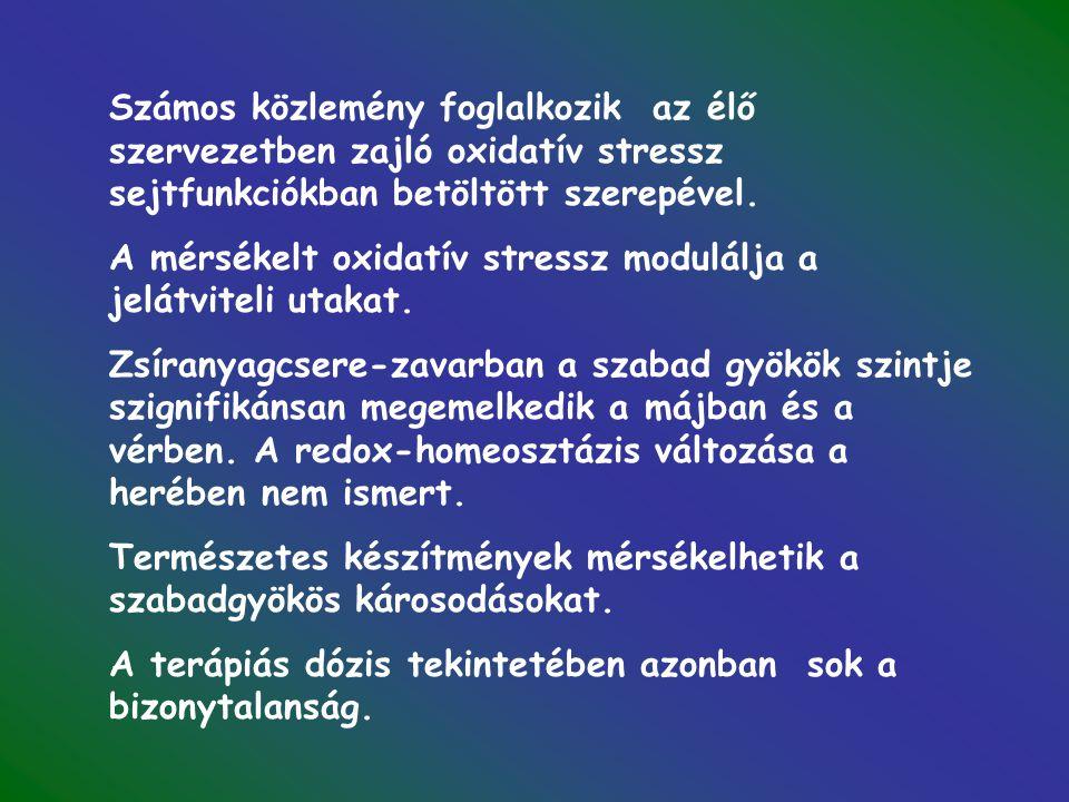 Számos közlemény foglalkozik az élő szervezetben zajló oxidatív stressz sejtfunkciókban betöltött szerepével.
