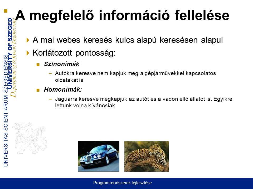 UNIVERSITY OF SZEGED D epartment of Software Engineering UNIVERSITAS SCIENTIARUM SZEGEDIENSIS  A mai webes keresés kulcs alapú keresésen alapul  Korlátozott pontosság: ■Szinonímák: –Autókra keresve nem kapjuk meg a gépjárművekkel kapcsolatos oldalakat is ■Homonímák: –Jaguárra keresve megkapjuk az autót és a vadon éllő állatot is.