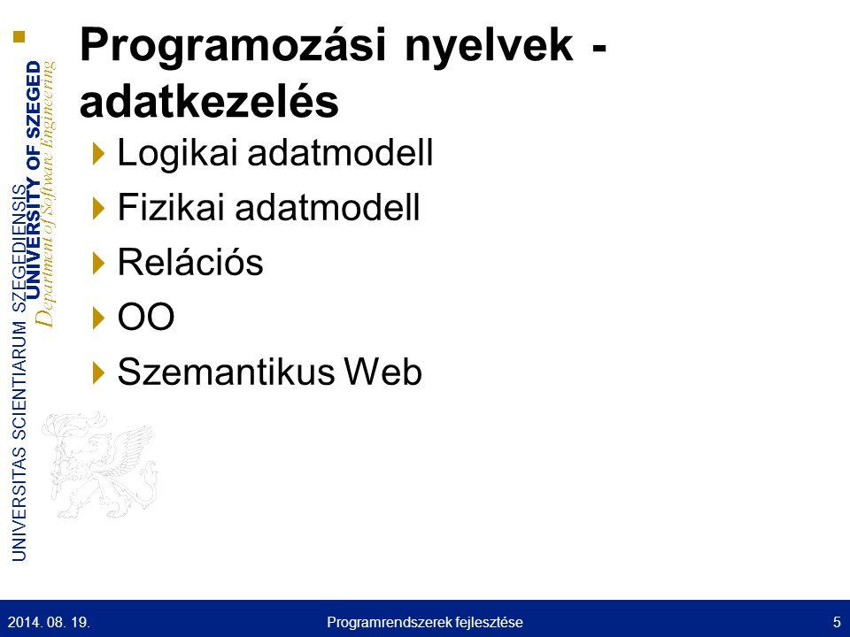 UNIVERSITY OF SZEGED D epartment of Software Engineering UNIVERSITAS SCIENTIARUM SZEGEDIENSIS Egyébb viszonyok 2014.