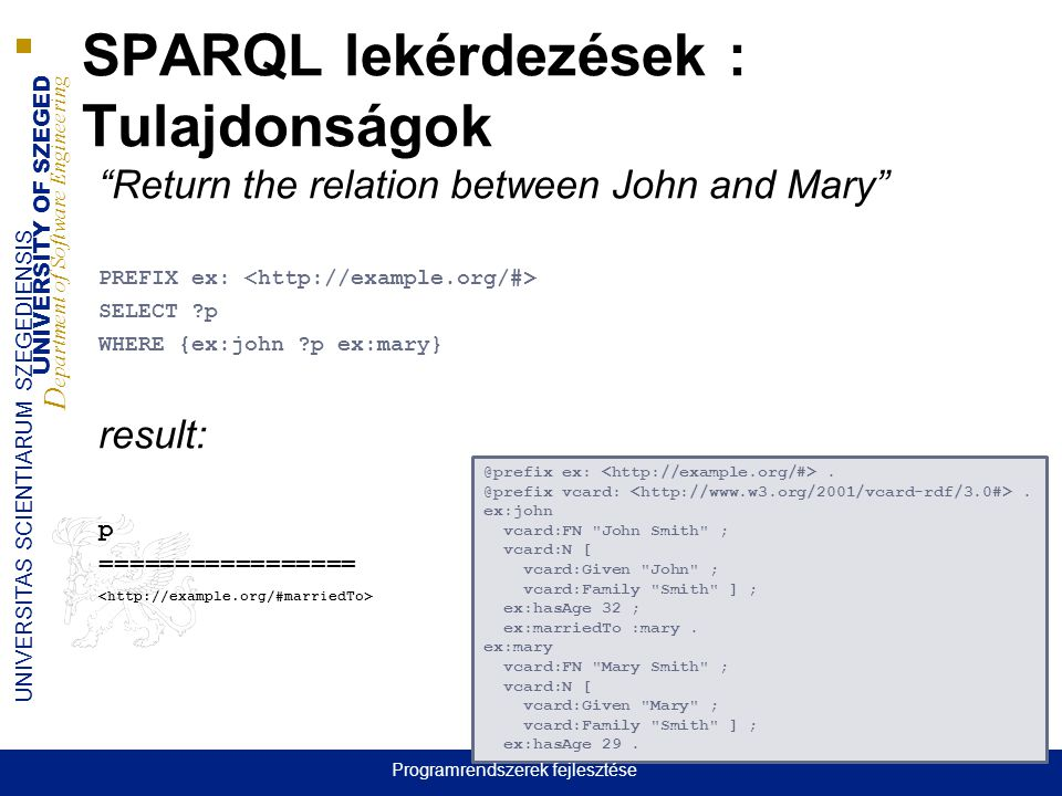 UNIVERSITY OF SZEGED D epartment of Software Engineering UNIVERSITAS SCIENTIARUM SZEGEDIENSIS SPARQL lekérdezések : Tulajdonságok Return the relation between John and Mary PREFIX ex: SELECT p WHERE {ex:john p ex:mary} result: p ================= @prefix ex:.