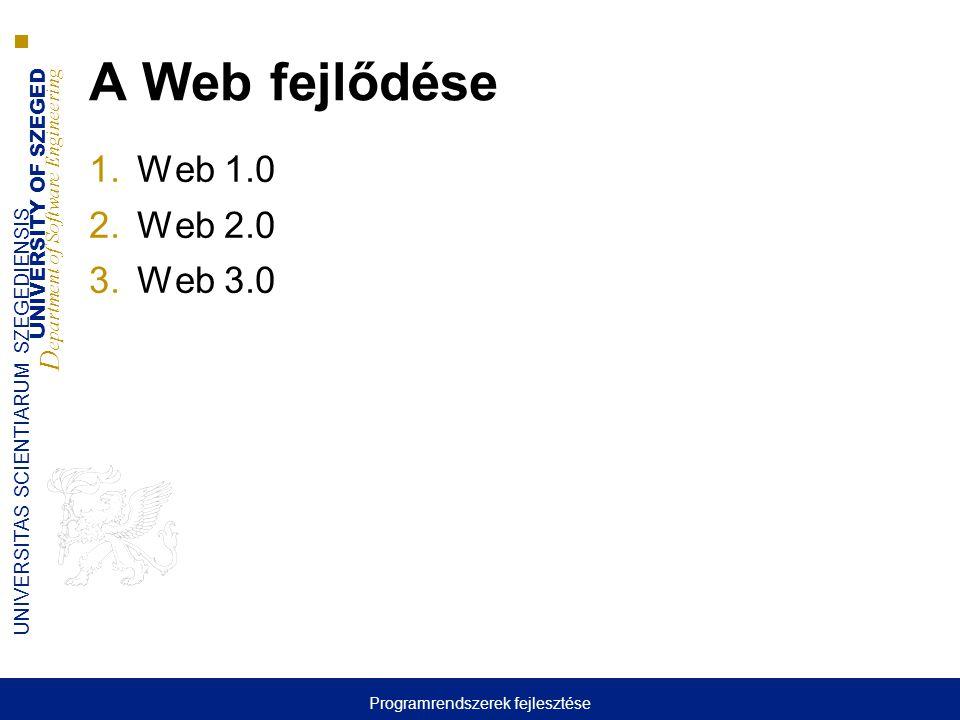 UNIVERSITY OF SZEGED D epartment of Software Engineering UNIVERSITAS SCIENTIARUM SZEGEDIENSIS Web 1.0  Az 1.0-ás web sikerénke hátterében az alábbi három technológia állt: 1.Egyszerű és egységes címzési séma az infomráció darabkák címzésére: Uniform Resource Identifiers (URIs) 2.Egyszerű és egységes reprezentációs formalizmus az információ darabkák struktúrálására annak érdekében, hogy a böngészők meg tudják jeleníteni Hyper Text Markup Language (HTML) 3.Egyszerű és egységes protokoll az információ darabkák elérésére Hyper Text Transfer Protocol (HTTP) Programrendszerek fejlesztése
