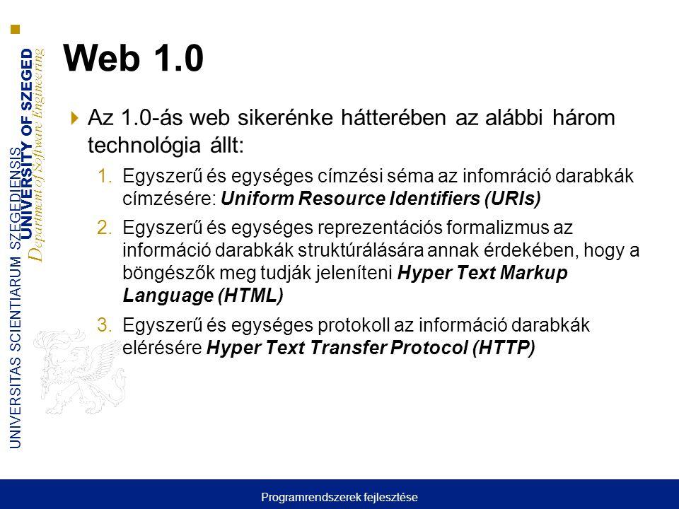 UNIVERSITY OF SZEGED D epartment of Software Engineering UNIVERSITAS SCIENTIARUM SZEGEDIENSIS Web 2.0 fontosabb eredményei  Négy fontosabb terület: 1.A tartalom fogyasztók és a tartalom gyártók közötti megkülönböztetés elmosása 2.Az egyedek számára készített médiától elmozdult a közösségek számára készített média felé 3.A szolgáltatás gyártók és a szolgáltatás fogyasztók közötti különbség elmosása 4.A humán és a gépi számítástechnika újszerű integrálása Programrendszerek fejlesztése