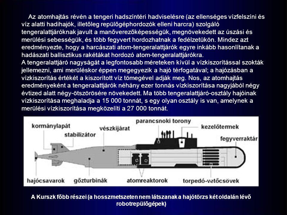Az atomhajtás révén a tengeri hadszíntéri hadviselésre (az ellenséges vízfelszíni és víz alatti hadihajók, illetőleg repülőgéphordozók elleni harcra) szolgáló tengeralattjáróknak javult a manőverezőképességük, megnövekedett az úszási és merülési sebességük, és több fegyvert hordozhatnak a fedélzetükön.