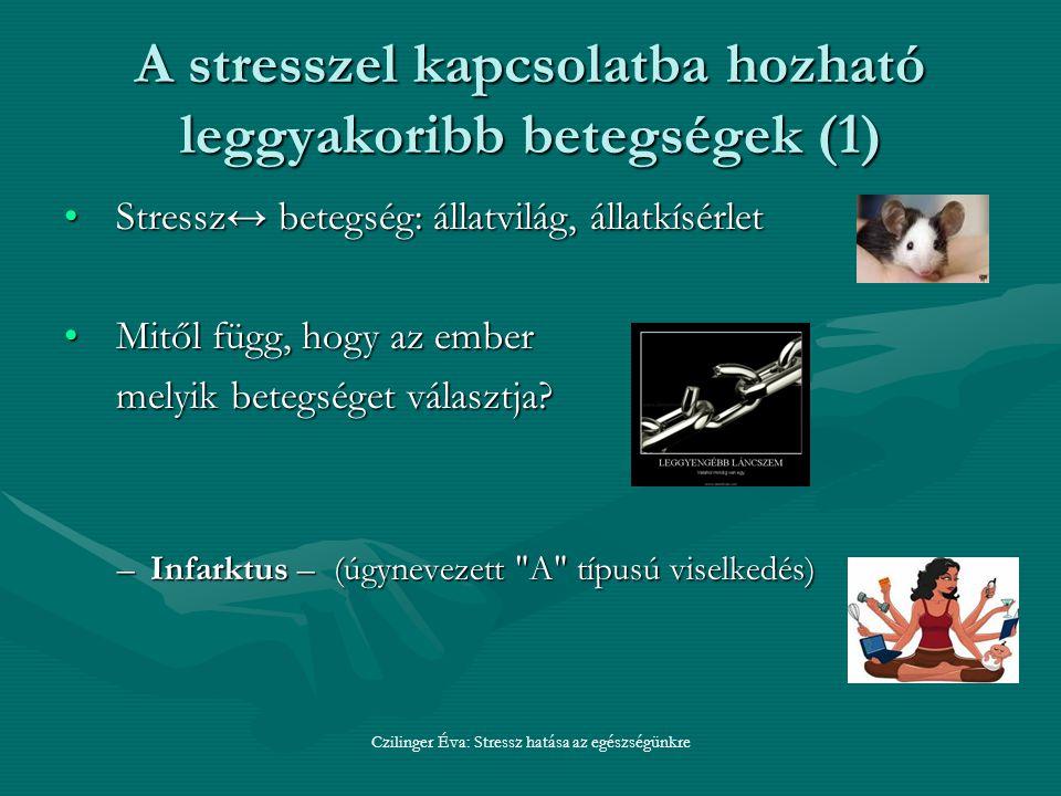 A stresszel kapcsolatba hozható leggyakoribb betegségek (1) Stressz↔ betegség: állatvilág, állatkísérletStressz↔ betegség: állatvilág, állatkísérlet Mitől függ, hogy az emberMitől függ, hogy az ember melyik betegséget választja.