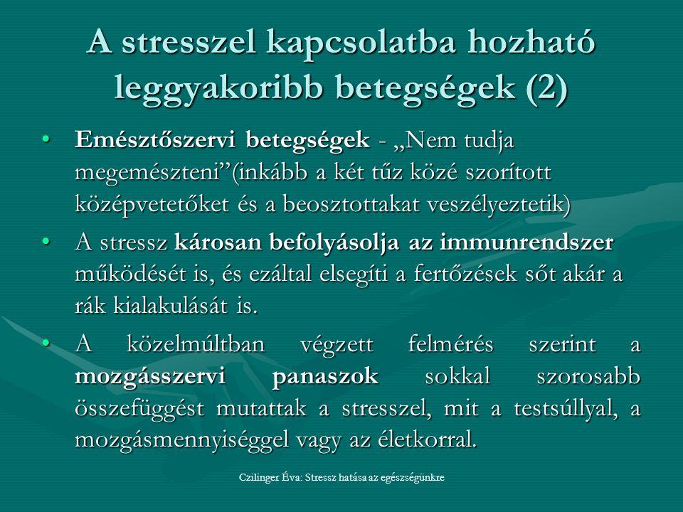 """A stresszel kapcsolatba hozható leggyakoribb betegségek (2) Emésztőszervi betegségek - """"Nem tudja megemészteni (inkább a két tűz közé szorított középvetetőket és a beosztottakat veszélyeztetik)Emésztőszervi betegségek - """"Nem tudja megemészteni (inkább a két tűz közé szorított középvetetőket és a beosztottakat veszélyeztetik) A stressz károsan befolyásolja az immunrendszer működését is, és ezáltal elsegíti a fertőzések sőt akár a rák kialakulását is.A stressz károsan befolyásolja az immunrendszer működését is, és ezáltal elsegíti a fertőzések sőt akár a rák kialakulását is."""