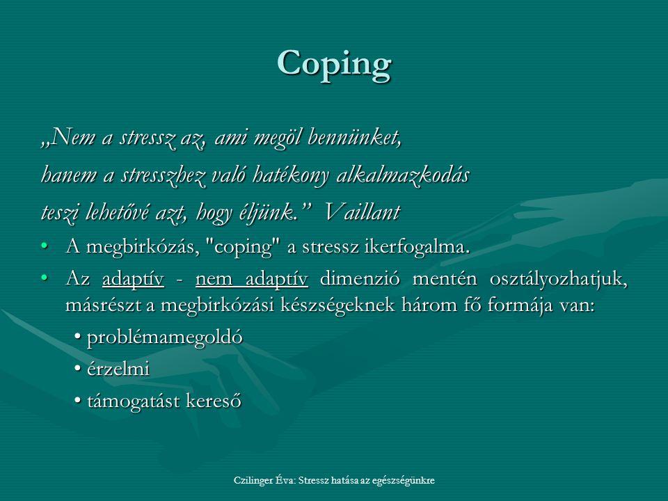 """Coping """"Nem a stressz az, ami megöl bennünket, hanem a stresszhez való hatékony alkalmazkodás teszi lehetővé azt, hogy éljünk. Vaillant A megbirkózás, coping a stressz ikerfogalma.A megbirkózás, coping a stressz ikerfogalma."""