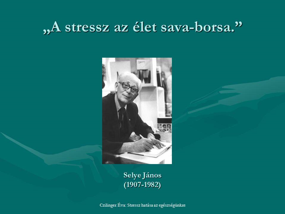 """""""A stressz az élet sava-borsa. Czilinger Éva: Stressz hatása az egészségünkre Selye János (1907-1982)"""