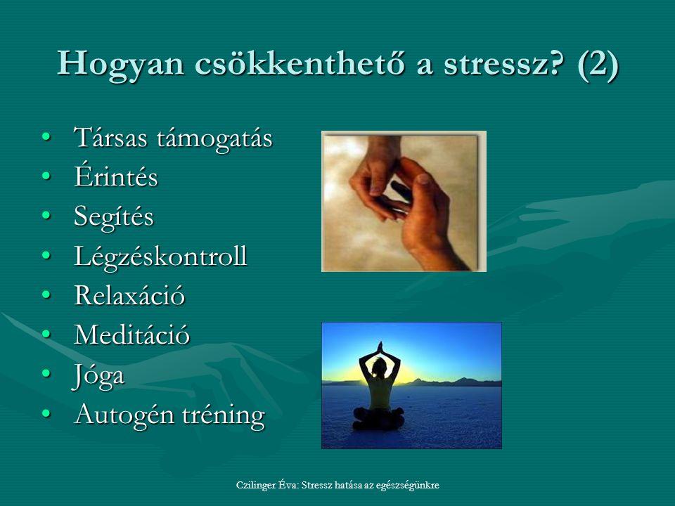 Czilinger Éva: Stressz hatása az egészségünkre Hogyan csökkenthető a stressz.