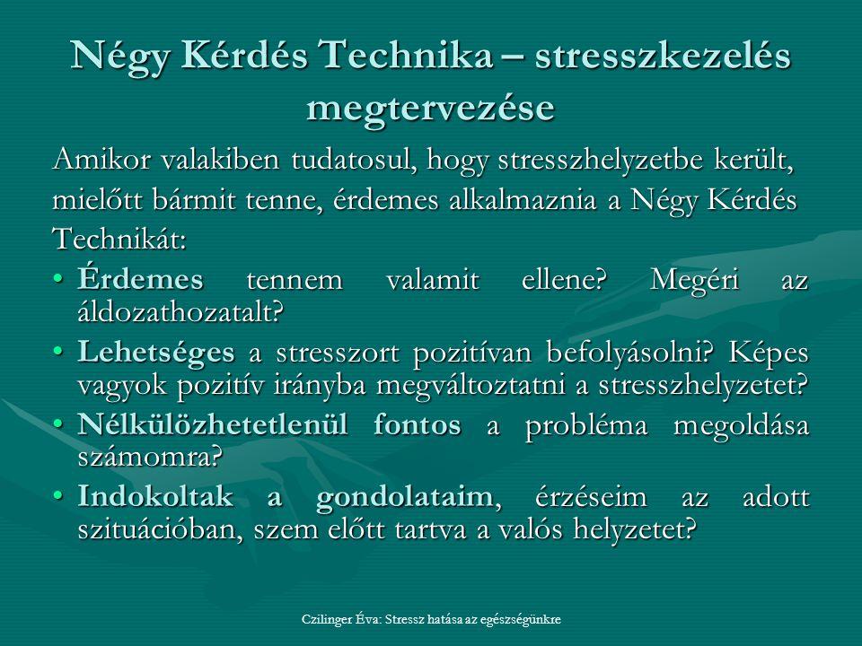Négy Kérdés Technika – stresszkezelés megtervezése Amikor valakiben tudatosul, hogy stresszhelyzetbe került, mielőtt bármit tenne, érdemes alkalmaznia a Négy Kérdés Technikát: Érdemes tennem valamit ellene.