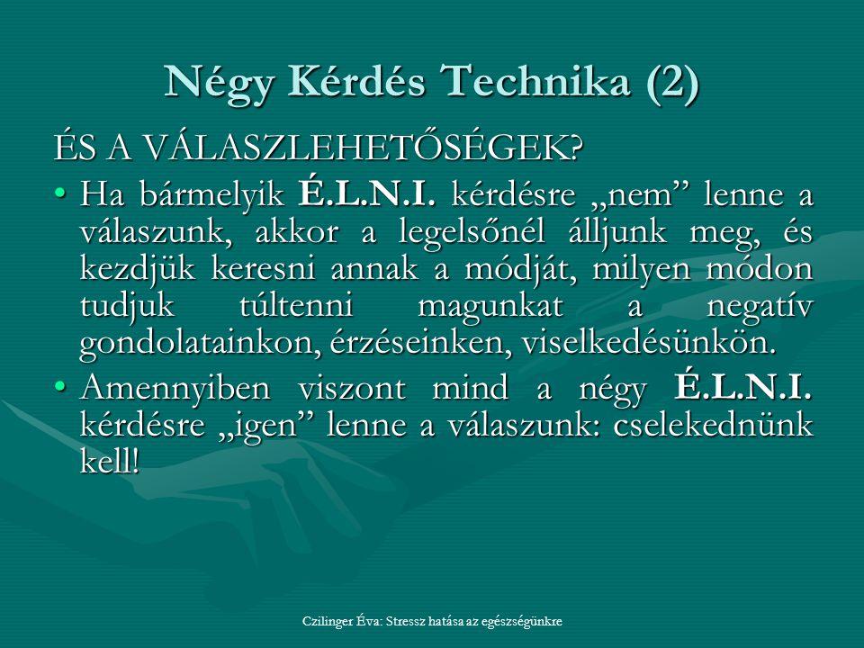Négy Kérdés Technika (2) ÉS A VÁLASZLEHETŐSÉGEK.Ha bármelyik É.L.N.I.