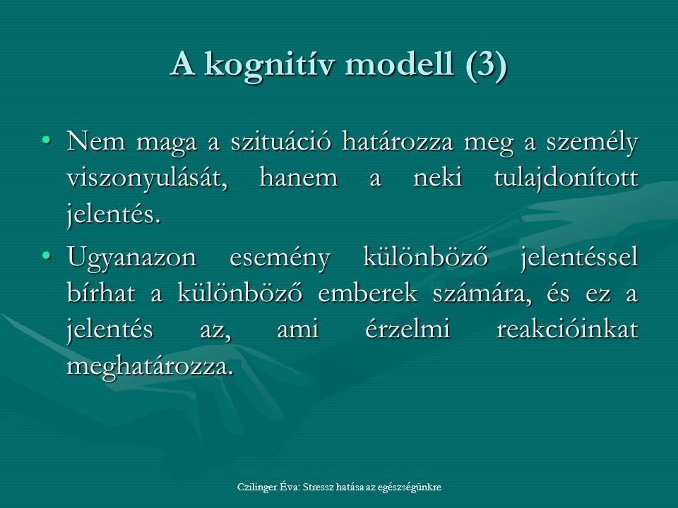 A kognitív modell (3) Nem maga a szituáció határozza meg a személy viszonyulását, hanem a neki tulajdonított jelentés.Nem maga a szituáció határozza meg a személy viszonyulását, hanem a neki tulajdonított jelentés.