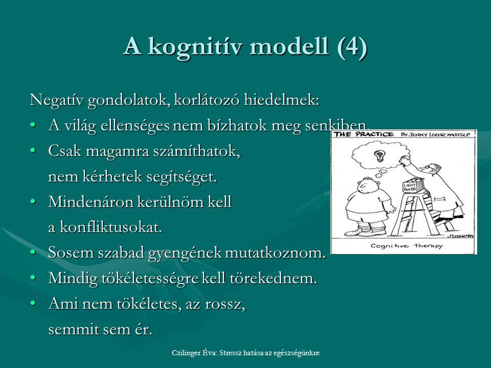 A kognitív modell (4) Negatív gondolatok, korlátozó hiedelmek: A világ ellenséges nem bízhatok meg senkiben.A világ ellenséges nem bízhatok meg senkiben.