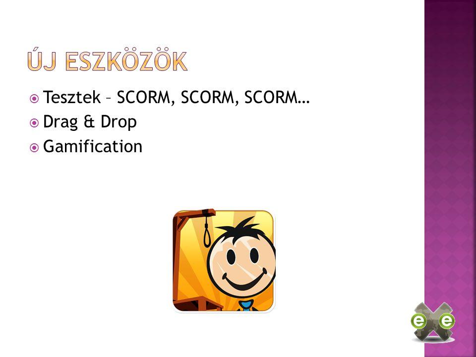  Tesztek – SCORM, SCORM, SCORM…  Drag & Drop  Gamification