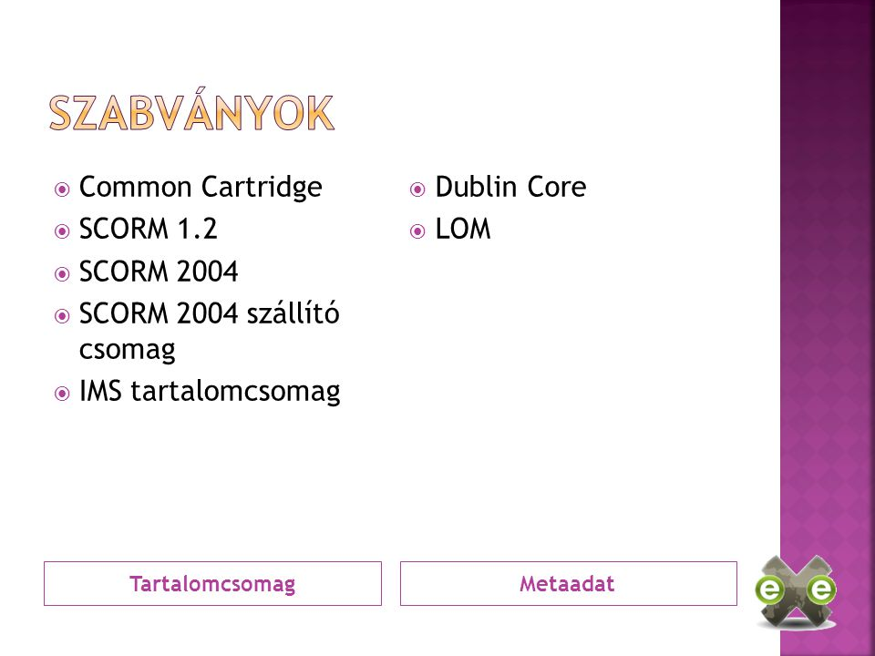 TartalomcsomagMetaadat  Common Cartridge  SCORM 1.2  SCORM 2004  SCORM 2004 szállító csomag  IMS tartalomcsomag  Dublin Core  LOM