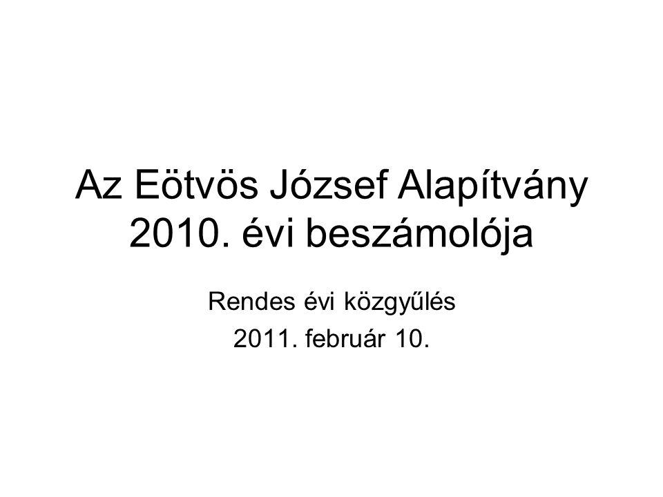 Az Eötvös József Alapítvány 2010. évi beszámolója Rendes évi közgyűlés 2011. február 10.