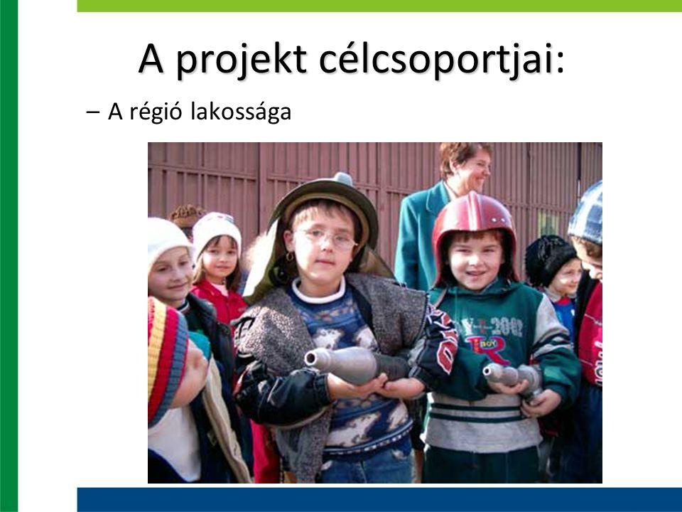 A projekt célcsoportjai A projekt célcsoportjai: –A régió lakossága