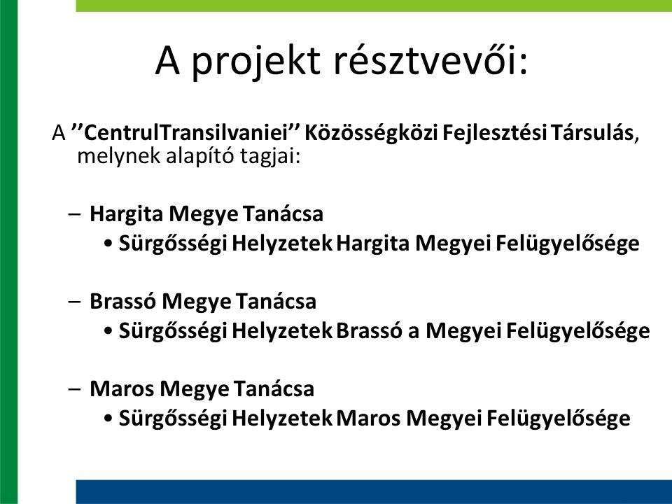 A projekt résztvevői: A ''CentrulTransilvaniei'' Közösségközi Fejlesztési Társulás, melynek alapító tagjai: –Hargita Megye Tanácsa Sürgősségi Helyzetek Hargita Megyei Felügyelősége –Brassó Megye Tanácsa Sürgősségi Helyzetek Brassó a Megyei Felügyelősége –Maros Megye Tanácsa Sürgősségi Helyzetek Maros Megyei Felügyelősége