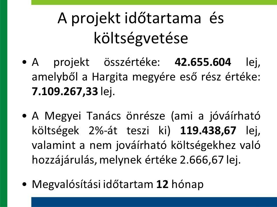 A projekt időtartama és költségvetése A projekt összértéke: 42.655.604 lej, amelyből a Hargita megyére eső rész értéke: 7.109.267,33 lej.