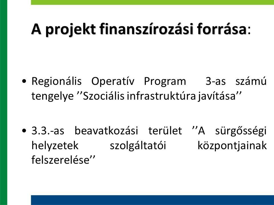 A projekt finanszírozási forrása A projekt finanszírozási forrása: Regionális Operatív Program 3-as számú tengelye ''Szociális infrastruktúra javítása'' 3.3.-as beavatkozási terület ''A sürgősségi helyzetek szolgáltatói központjainak felszerelése''