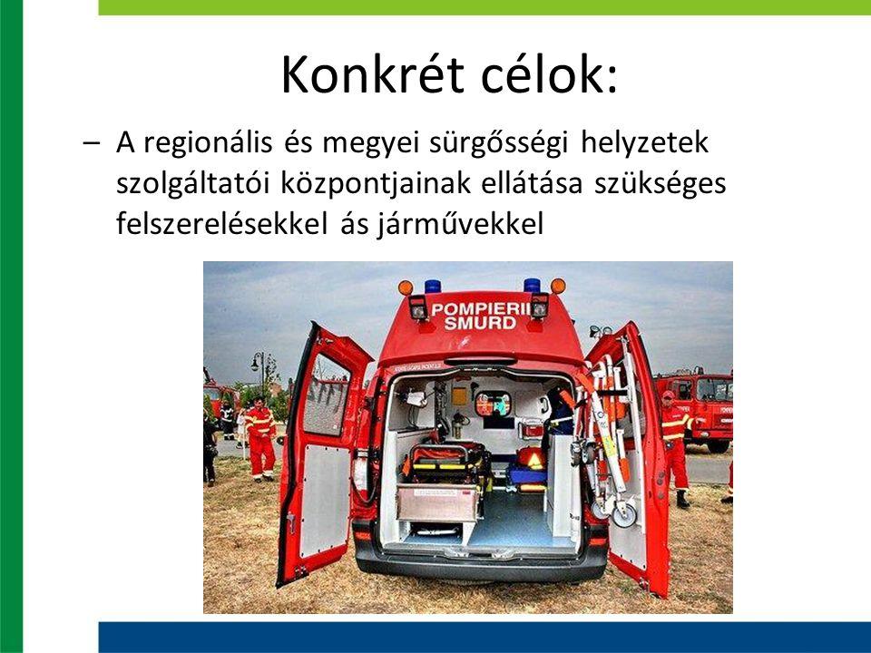 Konkrét célok: –A regionális és megyei sürgősségi helyzetek szolgáltatói központjainak ellátása szükséges felszerelésekkel ás járművekkel