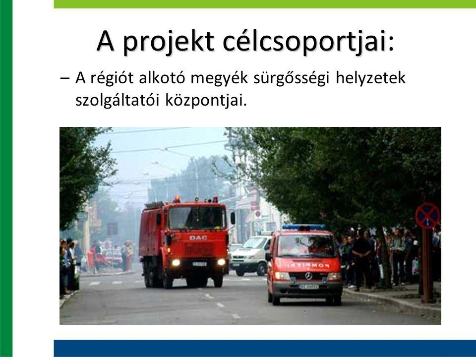 A projekt célcsoportjai A projekt célcsoportjai: –A régiót alkotó megyék sürgősségi helyzetek szolgáltatói központjai.