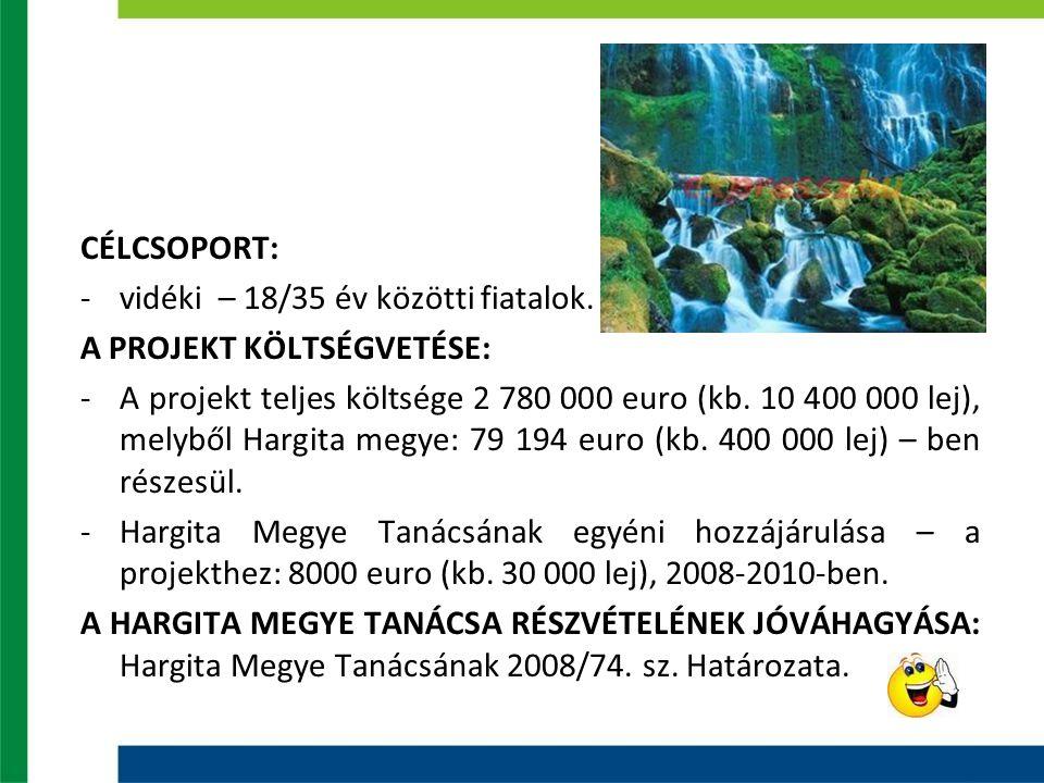 CÉLCSOPORT: -vidéki – 18/35 év közötti fiatalok. A PROJEKT KÖLTSÉGVETÉSE: -A projekt teljes költsége 2 780 000 euro (kb. 10 400 000 lej), melyből Harg