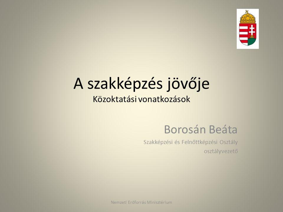 A szakképzés jövője Közoktatási vonatkozások Borosán Beáta Szakképzési és Felnőttképzési Osztály osztályvezető Nemzeti Erőforrás Minisztérium