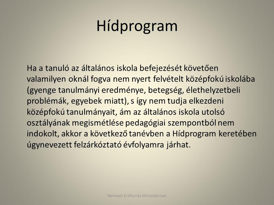 Hídprogram Ha a tanuló az általános iskola befejezését követően valamilyen oknál fogva nem nyert felvételt középfokú iskolába (gyenge tanulmányi eredm