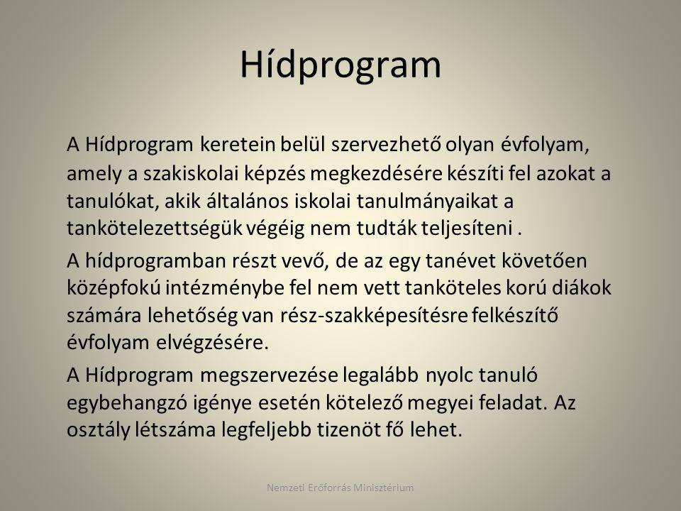 Hídprogram A Hídprogram keretein belül szervezhető olyan évfolyam, amely a szakiskolai képzés megkezdésére készíti fel azokat a tanulókat, akik általá