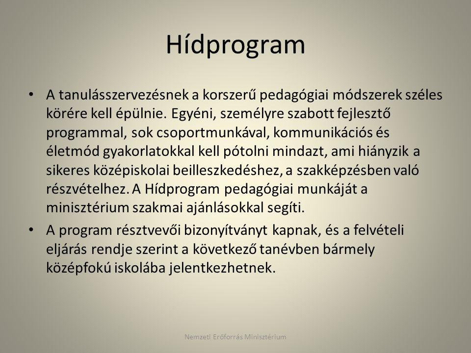 Hídprogram A tanulásszervezésnek a korszerű pedagógiai módszerek széles körére kell épülnie. Egyéni, személyre szabott fejlesztő programmal, sok csopo