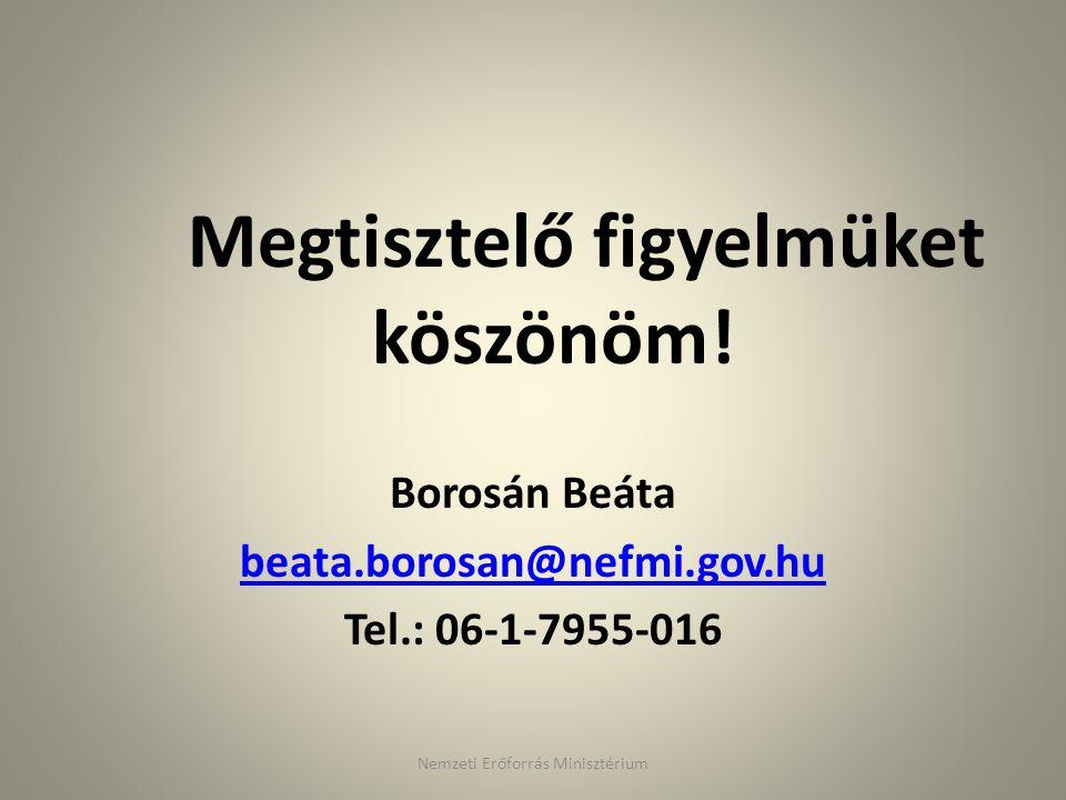 Megtisztelő figyelmüket köszönöm! Borosán Beáta beata.borosan@nefmi.gov.hu Tel.: 06-1-7955-016 Nemzeti Erőforrás Minisztérium
