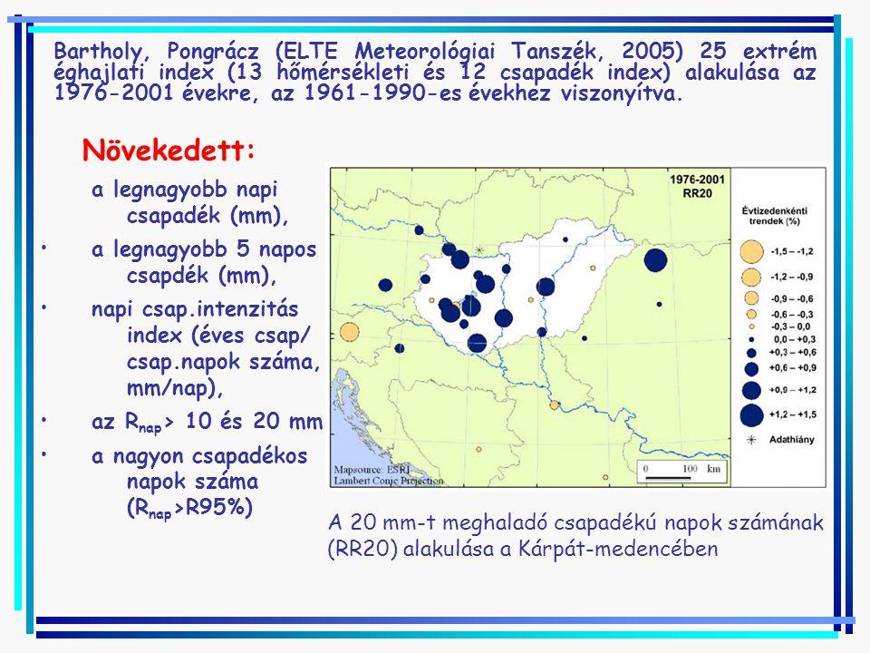 Bartholy, Pongrácz (ELTE Meteorológiai Tanszék, 2005) 25 extrém éghajlati index (13 hőmérsékleti és 12 csapadék index) alakulása az 1976-2001 évekre, az 1961-1990-es évekhez viszonyítva.