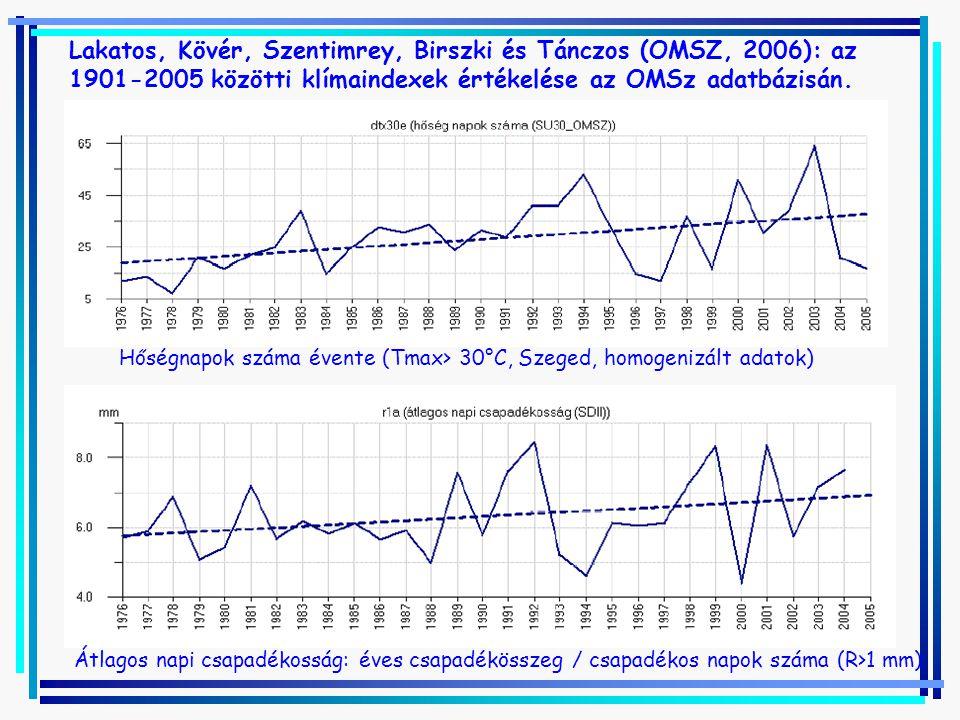 Lakatos, Kövér, Szentimrey, Birszki és Tánczos (OMSZ, 2006): az 1901-2005 közötti klímaindexek értékelése az OMSz adatbázisán.