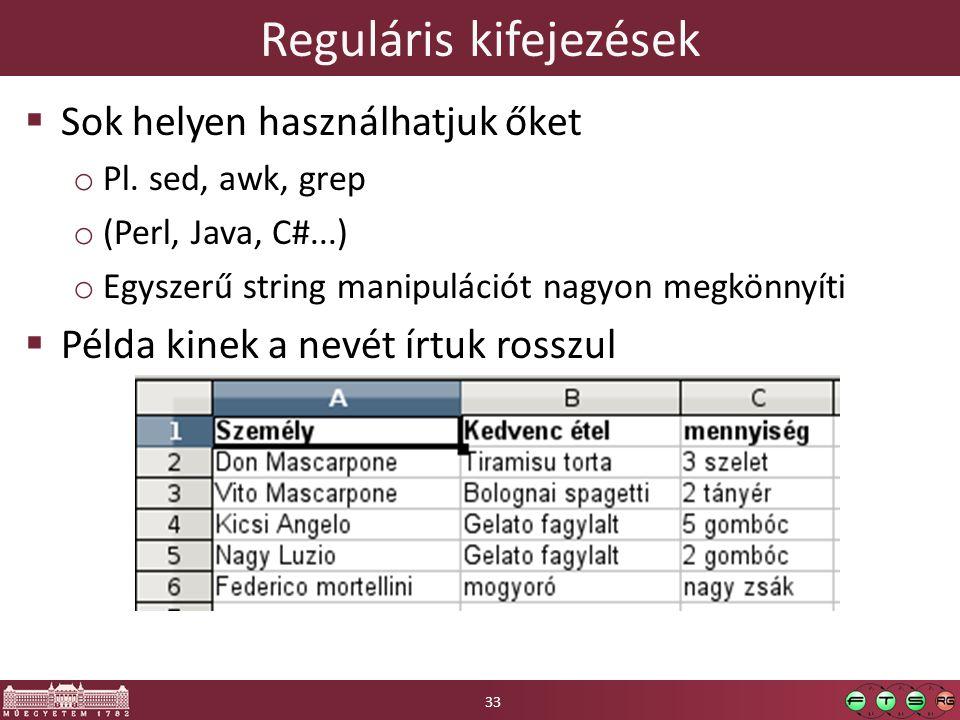 Reguláris kifejezések  Sok helyen használhatjuk őket o Pl.
