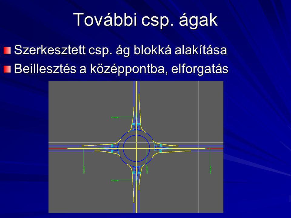 További csp. ágak Szerkesztett csp. ág blokká alakítása Beillesztés a középpontba, elforgatás