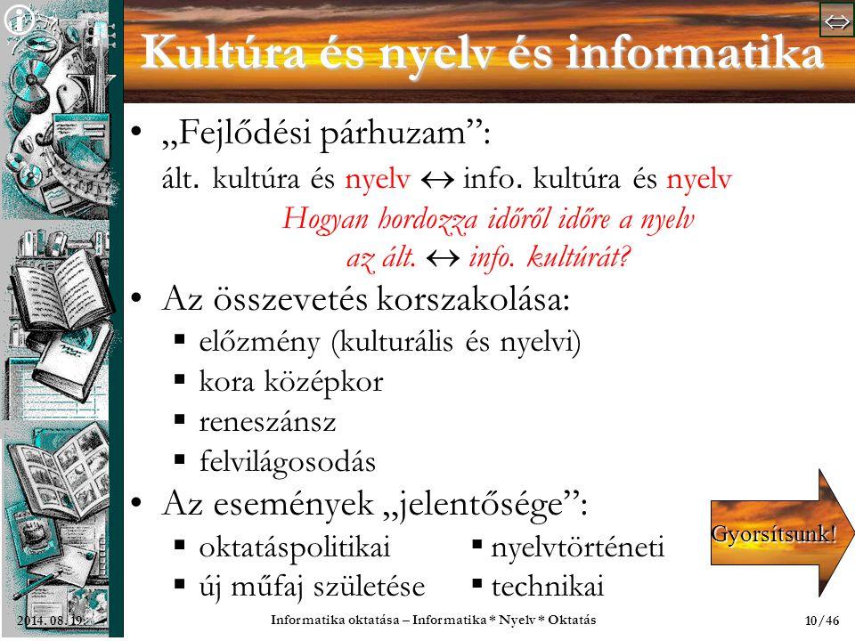   Informatika oktatása – Informatika * Nyelv * Oktatás 10/462014.