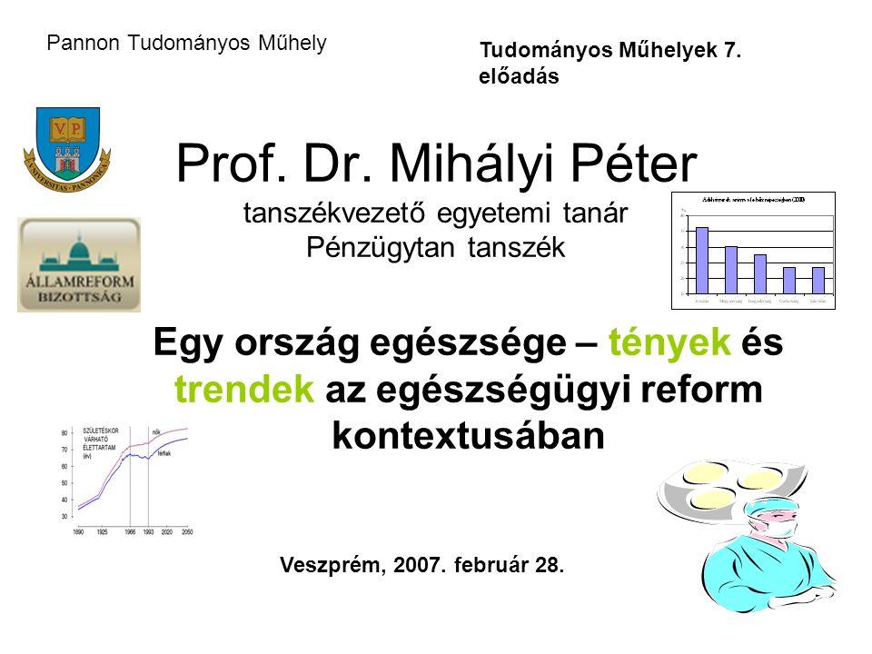 Prof. Dr. Mihályi Péter tanszékvezető egyetemi tanár Pénzügytan tanszék Egy ország egészsége – tények és trendek az egészségügyi reform kontextusában