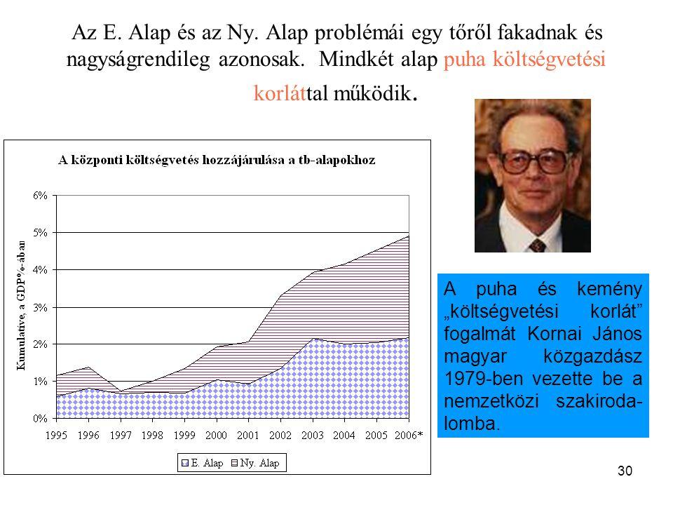 30 Az E. Alap és az Ny. Alap problémái egy tőről fakadnak és nagyságrendileg azonosak. Mindkét alap puha költségvetési korláttal működik. A puha és ke