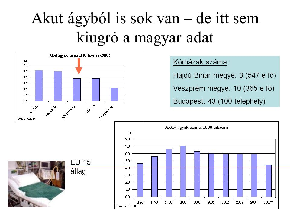 35 Akut ágyból is sok van – de itt sem kiugró a magyar adat EU-15 átlag Kórházak száma: Hajdú-Bihar megye: 3 (547 e fő) Veszprém megye: 10 (365 e fő)