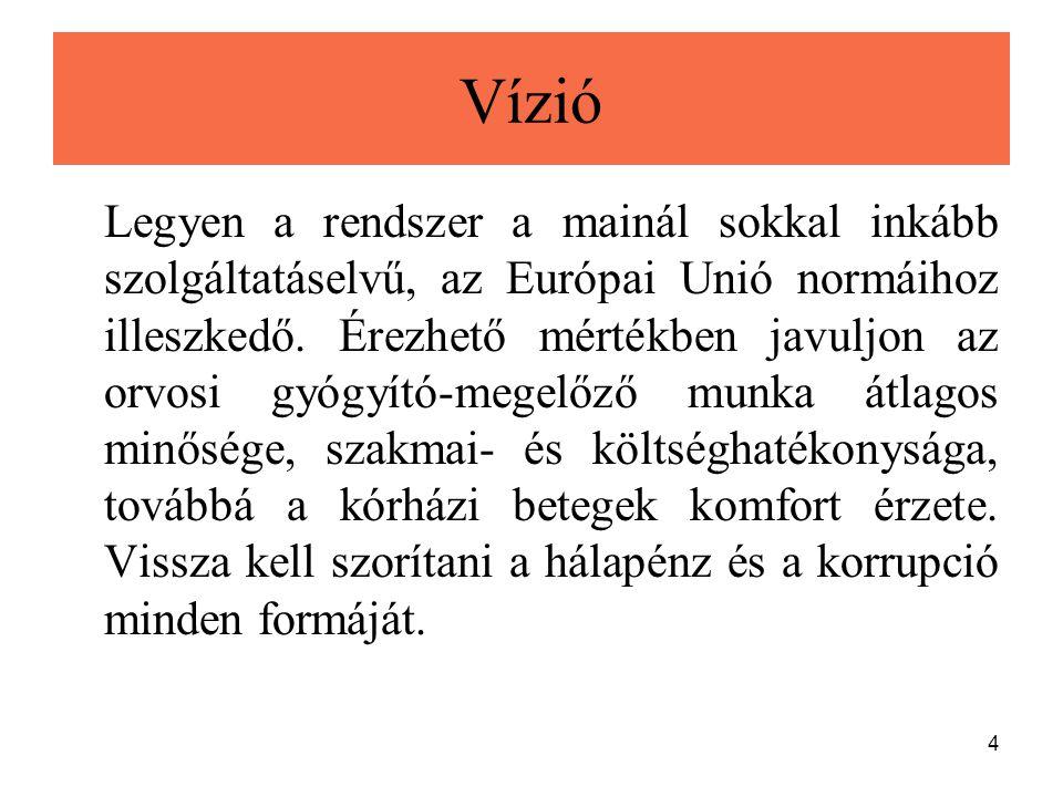 4 Vízió Legyen a rendszer a mainál sokkal inkább szolgáltatáselvű, az Európai Unió normáihoz illeszkedő. Érezhető mértékben javuljon az orvosi gyógyít