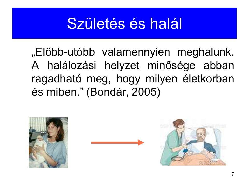 8 A betegség, az öregedés és a halás egymással összefüggő természetes folyamatok A társadalomtudományos szempontból vizsgálandó kérdés a korai halálozás (15-65 év).