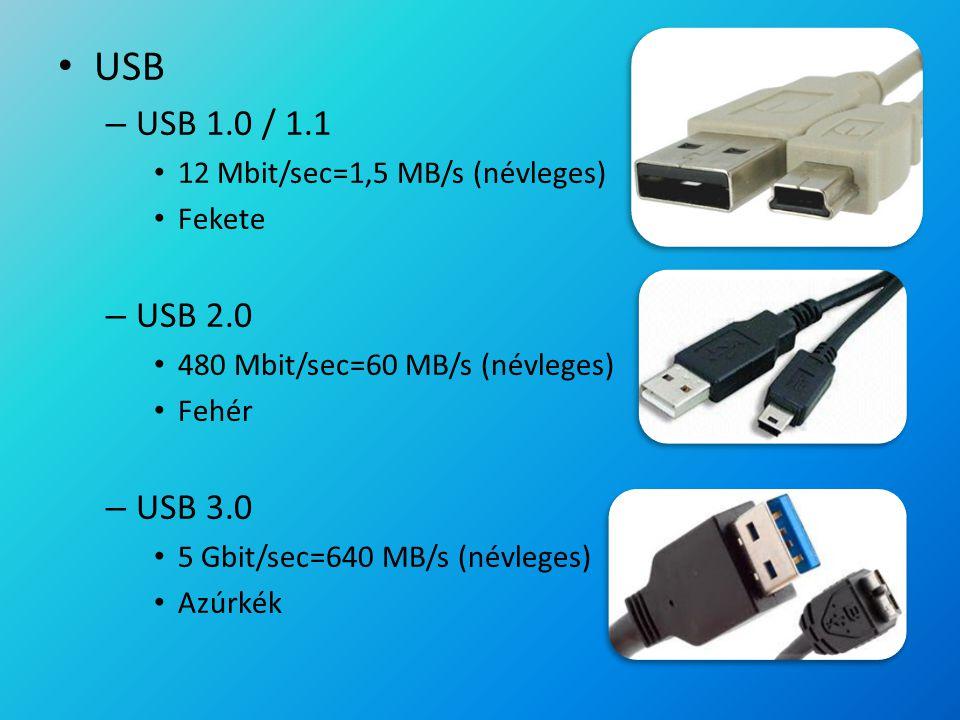 USB – USB 1.0 / 1.1 12 Mbit/sec=1,5 MB/s (névleges) Fekete – USB 2.0 480 Mbit/sec=60 MB/s (névleges) Fehér – USB 3.0 5 Gbit/sec=640 MB/s (névleges) Az