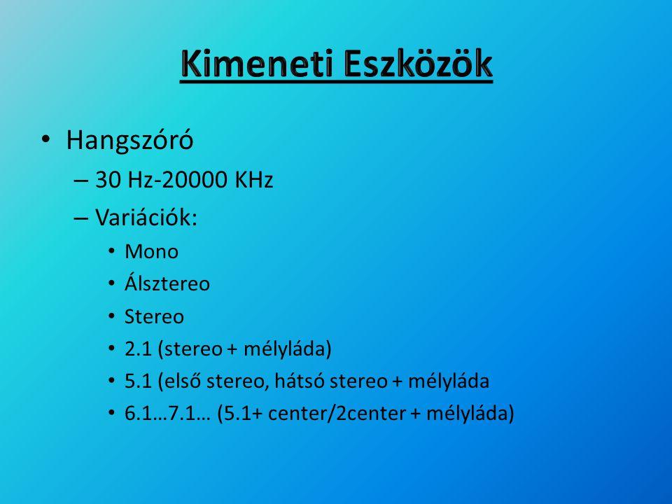 Hangszóró – 30 Hz-20000 KHz – Variációk: Mono Álsztereo Stereo 2.1 (stereo + mélyláda) 5.1 (első stereo, hátsó stereo + mélyláda 6.1…7.1… (5.1+ center