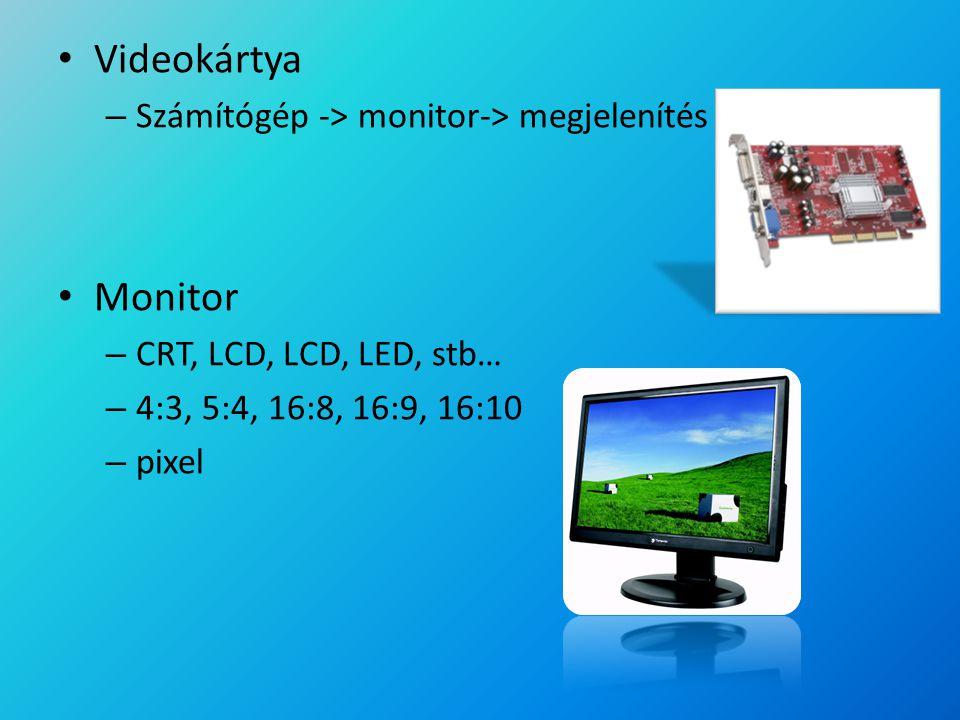 Videokártya – Számítógép -> monitor-> megjelenítés Monitor – CRT, LCD, LCD, LED, stb… – 4:3, 5:4, 16:8, 16:9, 16:10 – pixel