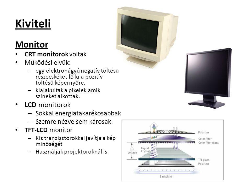 Kiviteli Monitor CRT monitorok voltak Működési elvük: – egy elektronágyú negatív töltésű részecskéket lő ki a pozitív töltésű képernyőre, – kialakulta