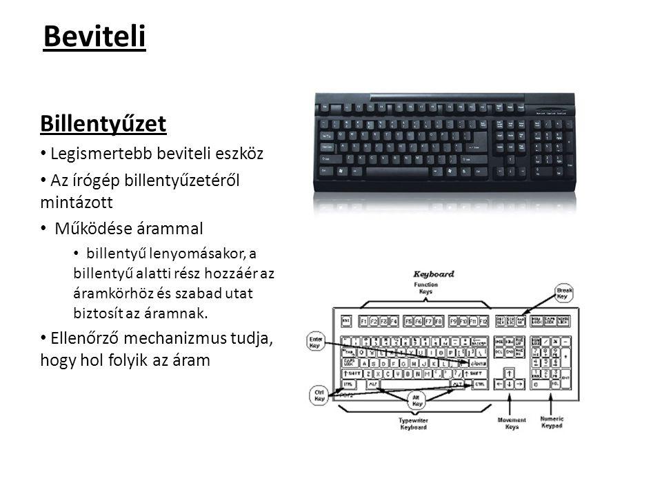 Beviteli Billentyűzet Legismertebb beviteli eszköz Az írógép billentyűzetéről mintázott Működése árammal billentyű lenyomásakor, a billentyű alatti ré