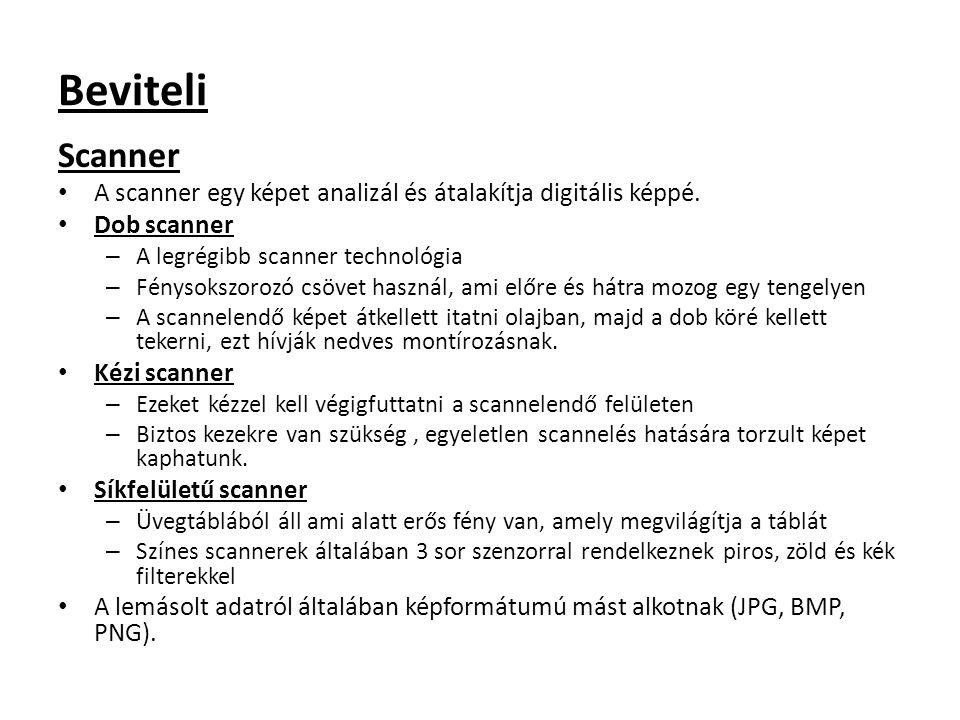 Beviteli Scanner A scanner egy képet analizál és átalakítja digitális képpé. Dob scanner – A legrégibb scanner technológia – Fénysokszorozó csövet has