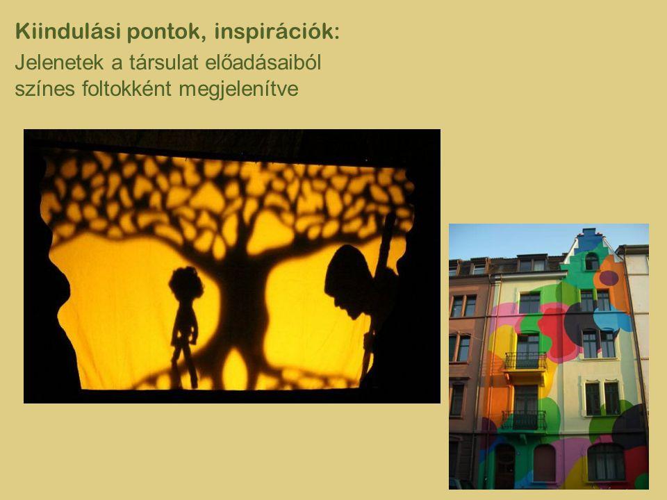Kiindulási pontok, inspirációk: Jelenetek a társulat előadásaiból színes foltokként megjelenítve