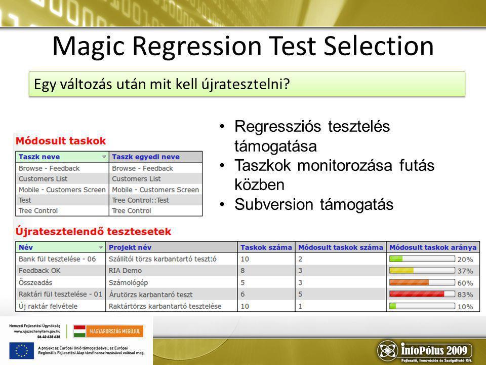10 Magic Regression Test Selection Regressziós tesztelés támogatása Taszkok monitorozása futás közben Subversion támogatás Egy változás után mit kell